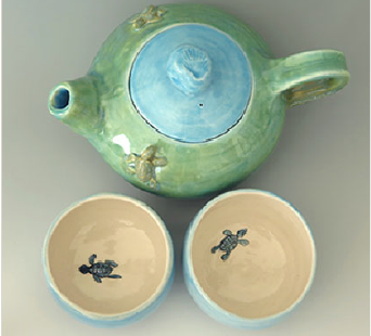 Sea Turtle Hedgling Teapot &Teacups set